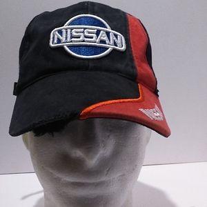 Nissan Distressed Black/Red Strapback Hat Cap
